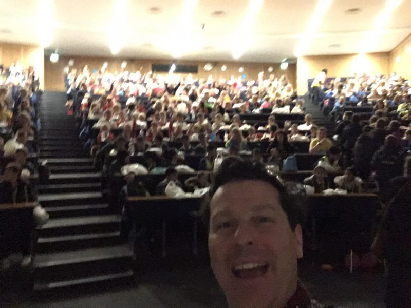 Jon grabs an audience selfie at the Lancashire Science Festival